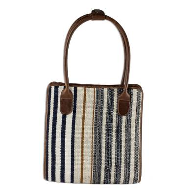 Natural Cotton and Leather Handbag from Guatemala
