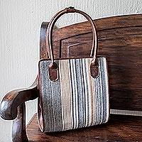 Leather and cotton handbag, 'San Clemente Style' - Handmade Leather and Striped Cotton Handbag