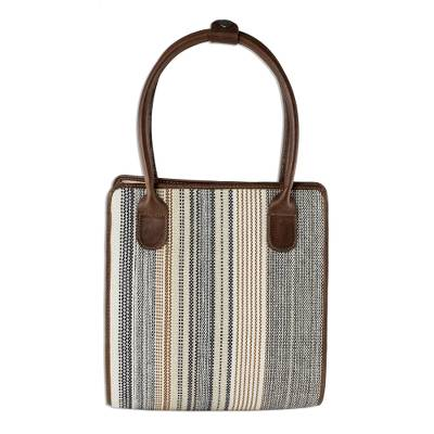Handmade Leather and Striped Cotton Handbag