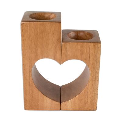 Cedar Wood Heart Tealight Holders (Pair)