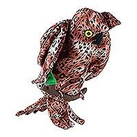 Decorative accent, 'Nocturnal Owl' - Hand Crafted Fabric Owl Home Accent