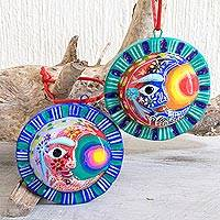 Ceramic ornaments, 'Eclipse of the Sun' (pair) - Crescent Moon Eclipse Ceramic Ornaments (Pair)
