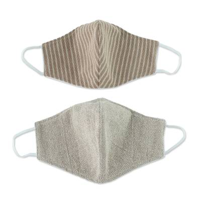 Cotton face masks, 'Natural State' (pair) - Natural Cotton Adult Face Masks (Pair)