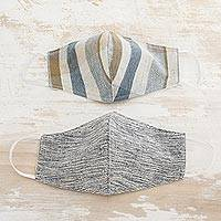 Natural cotton face masks, 'Clouds of Light' (pair) - 2 Natural Brown-Blue-Ivory Cotton 2-Layer Masks