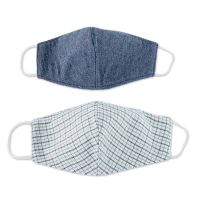 Natural cotton face masks, 'Clear Blue Skies' (pair) - 2 Eco-Friendly Blue and Ivory Cotton 2-Layer Masks