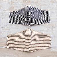Natural cotton face masks, 'Furrowed Fields and Sky' (pair) - 2 Eco-Friendly Blue and Brown-Ivory Cotton 2-Layer Masks