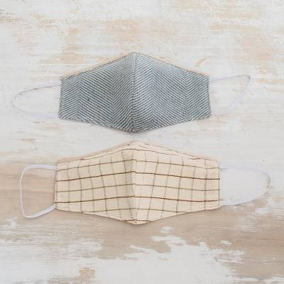 Natural cotton face masks, 'A Good Day' (pair) - 2 Natural Blue and Brown-Ivory Cotton 2-Layer Masks
