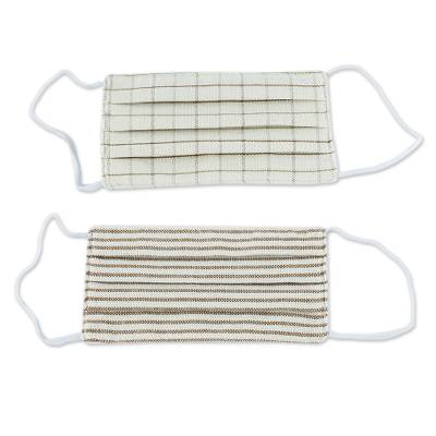 Natural cotton face masks, 'Earth Tone Pleats' (pair) - 2 Natural Undyed Brown and Ivory Cotton Pleated 2-Layer Mask