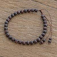 Garnet beaded bracelet, 'Crimson Depths' - Natural Garnet Adjustable Beaded Bracelet