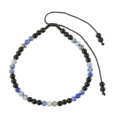 Sodalite and Matte Black Onyx Bracelet