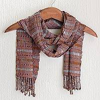 Cotton scarf, 'Solola Earth' - Orange and Brown Hand Woven Cotton Scarf