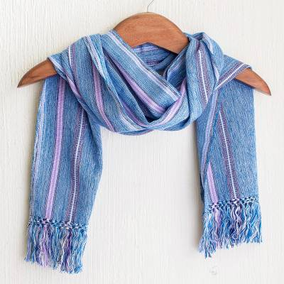 Cotton scarf, 'Cielo Azul' - Blue and Violet Striped Cotton Scarf
