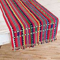 Cotton table runner, 'Rainbow Mesa' - Multicolored Striped Cotton Table Runner