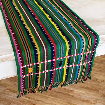 Cotton table runner, 'Shady Stripes' - Hand Woven Cotton Table Runner from Guatemala