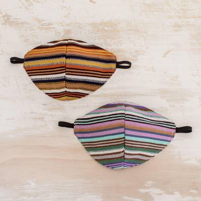 Hand loomed cotton face masks, 'Lowland Stripes' (pair) - Cotton Striped Face Masks from Guatemala (Pair)