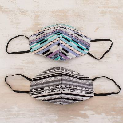 Hand loomed cotton face masks, 'Mountain Stripes' (pair) - Hand Crafted Two-layer Face Masks (Pair)