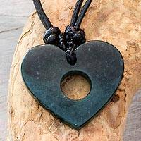Jade pendant necklace, 'Open My Heart' - Heart-Shaped Jade Pendant Necklace