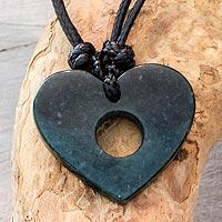 Jade pendant necklace, 'Open My Heart'