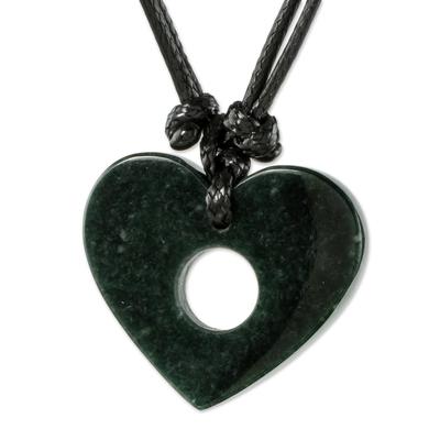 Jade pendant necklace, 'Open My Heart' - Heart-Shaped Jade Pendant Necklace