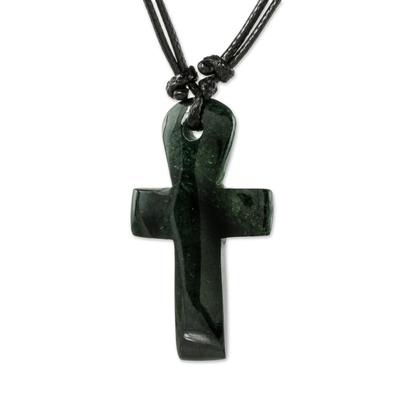 Jade pendant necklace, 'Sweet Salvation' - Handmade Dark Green Jade Cross Necklace