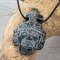 Jade pendant necklace, 'Maya Mask' - Maya Mask Jade Pendant Necklace