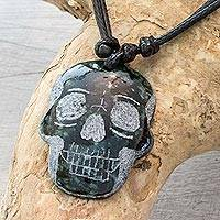 Jade pendant necklace, 'Dark Green Skull' - Dark Green Jade Day of the Dead Necklace
