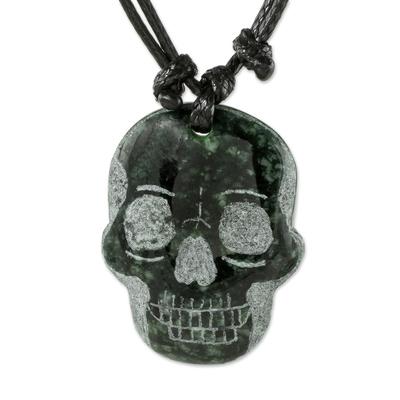 Jade pendant necklace, 'Dark Green Skull' - Dark Green Jade Day of the Dead Necklace