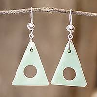 Jade dangle earrings, 'Angularity in Light Green' - Light Green Jade Triangle Earrings