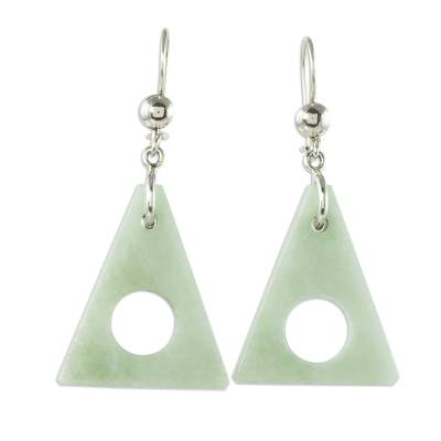 Jade dangle earrings, 'Angularity in Light Green' - Light Green Jade Triangle Earrings