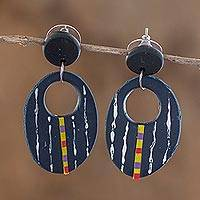 Porcelain dangle earrings, 'Quetzaltenango' - Hand Painted Cold Porcelain Dangle Earrings