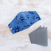 Cotton face mask with filters, 'Blue Foliage' - Blue Cotton Reusable Face Mask with Filters