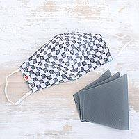 Cotton face mask with filters, 'Classic Checks' - Grey and White Face Mask with Washable Filters
