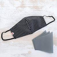 Cotton face mask with filters, 'Sharp Stripes' - Black and White Stripe Cotton Face Mask with Filters
