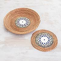 Pine needle and ceramic basket and trivet set, 'Natural Beauty' (pair) - Pine Needle and Ceramic Basket and Trivet (Pair)