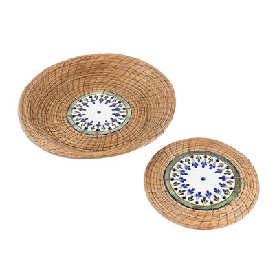 Pine Needle and Ceramic Basket and Trivet (Pair)