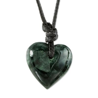 Heart Pendant Necklace in Dark Green Jade