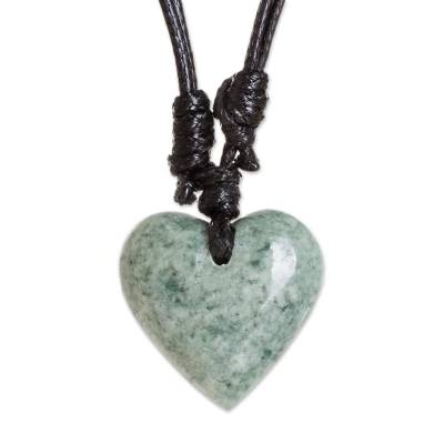 Green Jade Heart Necklace from Guatemala