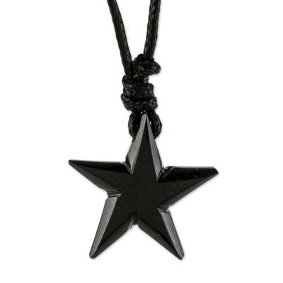 Adjustable Black Jade Star Pendant Necklace