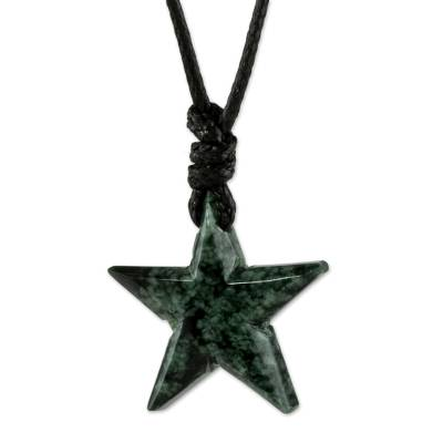Star-Shaped Jade Pendant Necklace