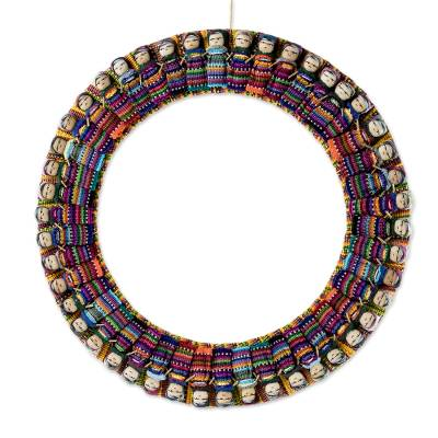 Fabric wreath, 'Heritage in the Round' - Colorful Worry Doll Wreath