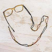 Beaded eyeglass lanyard, 'Gold and Bronze Blooms' - Artisan Crafted Gold and Bronze Bead Eyeglass Lanyard
