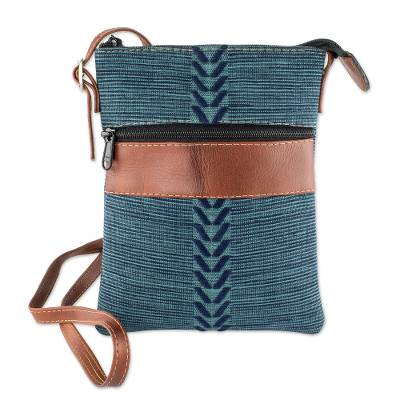 Blue and Teal Cotton and Leather Shoulder Bag