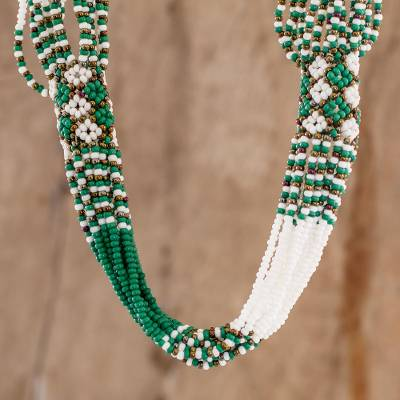 Long beaded torsade necklace, 'Kelly Green and White Harmony' - Hand Beaded Long Torsade Necklace in Green
