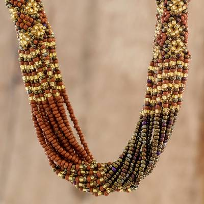Long beaded torsade necklace, 'Gold and Bronze Harmony' - Beaded Long Necklace in Gold and Bronze