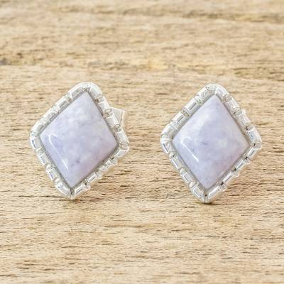 Jade stud earrings, 'Traditional Textures' - Diamond-Shaped Lilac Jade Stud Earrings