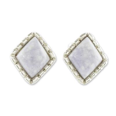 Diamond-Shaped Lilac Jade Stud Earrings