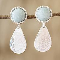 Jade dangle earrings, 'Maya Texture in Light Green' - Hammered Sterling Silver and Jade Earrings