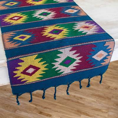 Cotton table runner, 'Colorful Stars' - Multicolored Cotton Table Runner