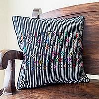 Cotton cushion cover, 'Solola Symbols' - Black and White Striped Cushion Cover