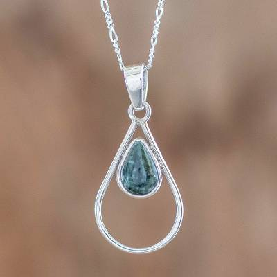 Jade pendant necklace, 'Simple Drop in Dark Green' - Green Jade and Sterling Silver Teardrop Pendant Necklace
